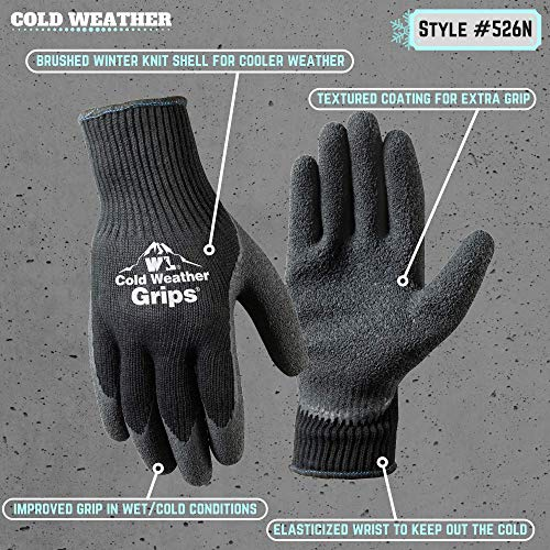 2 Pairs Cold Weather Latex Grip Winter Work Gloves (526LN)