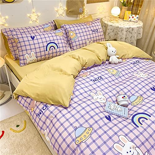 juego de funda de edredón cama matrimonio,Lavado de agua de verano de seda de seda de seda de seda de cama de cuatro piezas-C_1,5 m la cama (4 piezas) - adecuado para el núcleo de 150x200cm