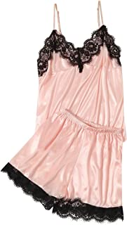 iQKA Women Sexy Lace Pajamas Sets, Satin Camisole & Short Solid Color Nightgown Lingerie Babydoll Nightwear 2PC Set