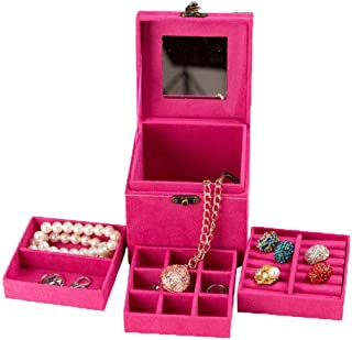 Xiang Ru Retro Velvet Inner Three-tier Jewelry Box Case Holder Organizer with Mirror