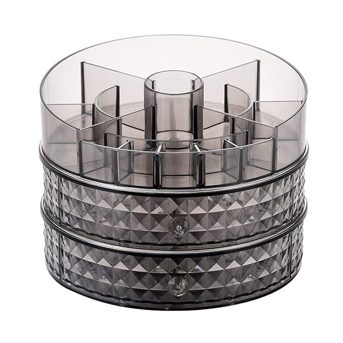 出力値おいしい化粧品収納ボックスデスクトップシンプル回転透明ラック寮ドレッシングテーブル仕上げラック (Color : BLACK, Size : 24*24*18.5CM)