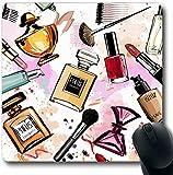 Oficina Mouse Pad,Alfombrillas para Computadoras,Alfombrilla De Ratón,Chica Rosa Maquillaje Acuarela Cosméticos Perfumes Patrón Cosmético Girly Sketch Make Design Nail Gaming Mouse Pad