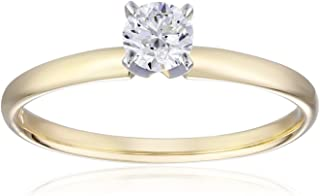 IGI Certified 14k Yellow Gold Classic Round-Cut Diamond Engagement Ring (1/2 carat, H-I Color, SI1-SI2 Clarity), Size 8