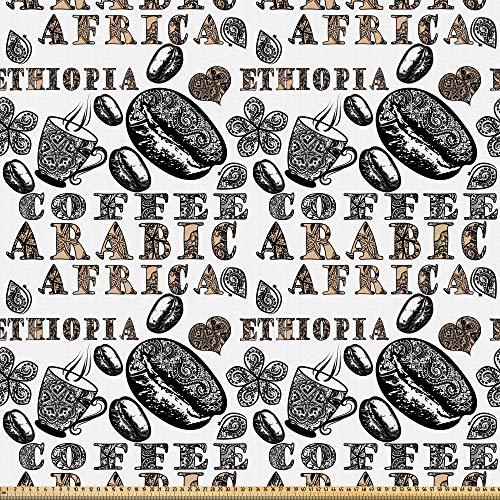 ABAKUHAUS Ethnisch Stoff als Meterware, Arabische Kaffeebohnen, Microfaser Multi Zweck Dekostoff für Kunsthandwerke, 3M (148x300cm), Sandbraun Schwarz und Grau