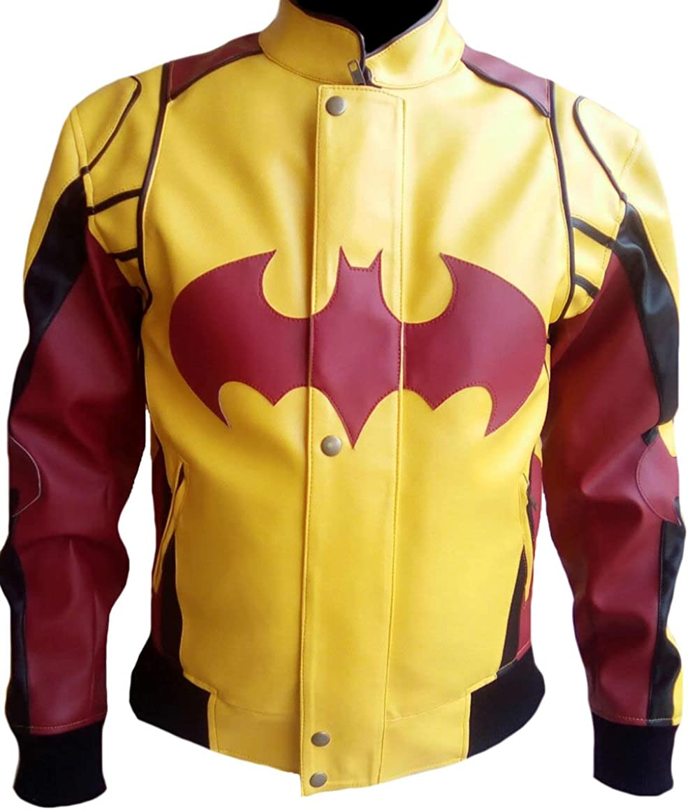 SRHides Men's Fashion Batman Fixed price for sale trend rank Yellow n Leather J Red Style Bomber