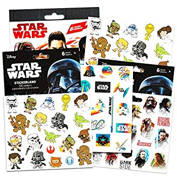 Star Wars Stickers Party Favors ~ Set of 2 Sticker Packs ~ Bundle Includes 18 Sheets over 350 Stickers plus Star Wars Tattoos -Darth Vader Storm troopers Chewbacca