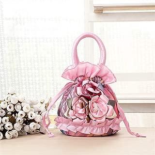 Redland Art Women's Fashion Flower Mini Clutch Bucket Bag Wristlet Evening Handbag Catching Purse Bag for Wedding Party (Color : Pink)