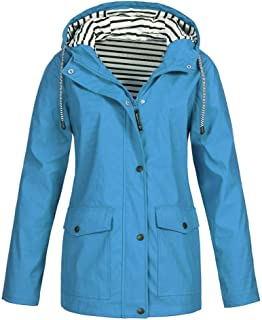 FORUU Women's Windbreaker Plus Size,Sale Solid Trendy Outdoor Rain Jackets Waterproof Hooded Raincoat Windproof Coat