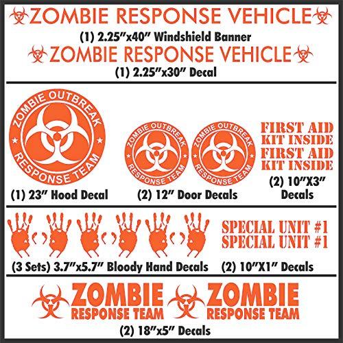 Zombie Outbreak Response Team 17 Piece Decal Set - White/Black/Silver/Lime Green - Sticker Kit Car Truck New (Orange)