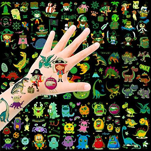HOWAF Tattoo Kinder, Piraten Monsters Dinosaurier Temporäre Tattoos Set, im Dunkeln leuchten Tattoos Kinder, Kindertattoos Aufkleber für Jungen Mädchen Kinder Spielen Kindergeburtstag Mitgebsel