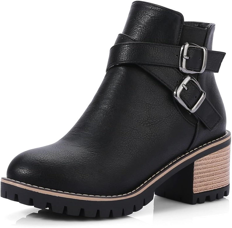 DoraTasia Buckle Strap Artificial Suede Women's Boots