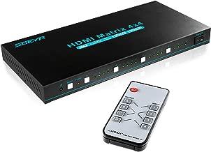 HDMI Matrix 4x4 HDMI True Matrix Switcher 4K 4x4 Rack Mount HDMI Switch Splitter Matrix with IR Remote Control Support Ultra HD HDMI 1.4 4Kx2K 1080P