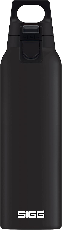 SIGG Hot & Cold ONE Black Botella térmica (0.5 L), cantimplora térmica aislante sin sustancias nocivas, botella de acero inoxidable para usar con una mano