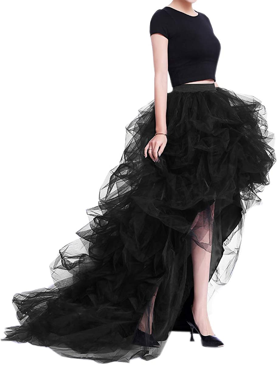 WDPL Women's Max 73% OFF Under blast sales Long High Low Skirt Ruffles Tulle Party
