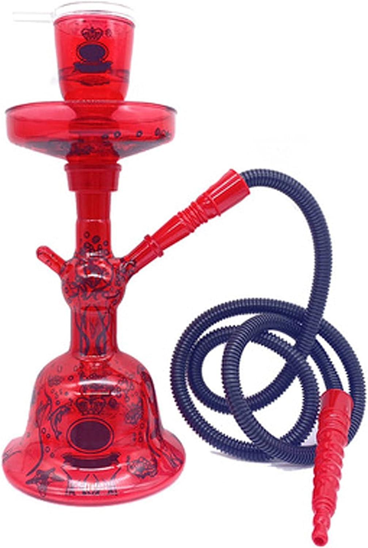HHUU Khalil Mamoon - Juego de pipa de agua portátil, pipa de agua, fumar, juego de cachimba con luz LED para uso en casa y en fiestas, cafetería, bar, fiesta, color rojo