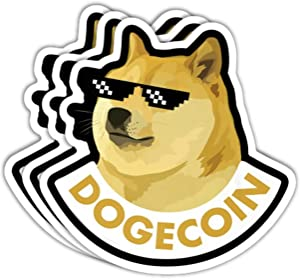 Dogecoin Sticker Gangster Sunglasses Original (Pack of 3 + Bonus) Premium Vinyl Decal for Fans of Dogecoin, Doge, Cryptocurrency, Crypto, Blockchain, Bitcoin, Wallstreetbets, Gamestop, Stonks