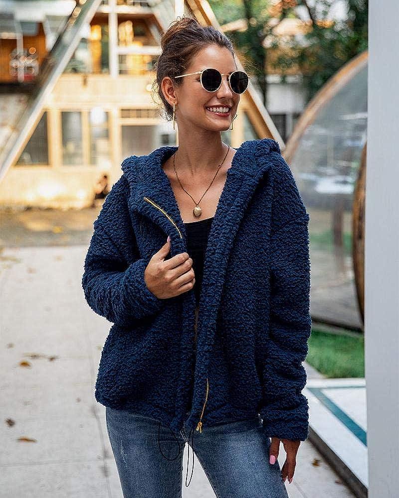 Gets Womens Fuzzy Fleece Hooded Coat Winter Outwear Long Sleeve Zipper Jackets with Pockets