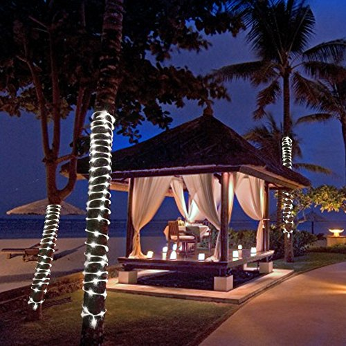 IMAGE 8 Modes Solar Rope Lights Outdoor String Lights 78.7Foot 20M Waterproof 200LED for Indoor Outdoor Garden Party Patio Lawn Decor White Color