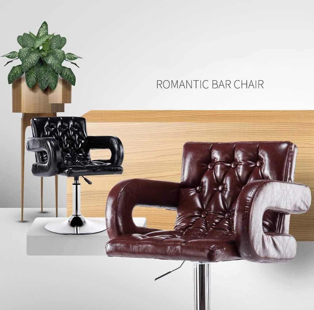 Chaise de salle à manger Chaise de bureau en cuir PU, cuisine petit déjeuner chaise ordinateur chaise de bureau chaise de bar à gaz chaise brun noir (Color : A) F