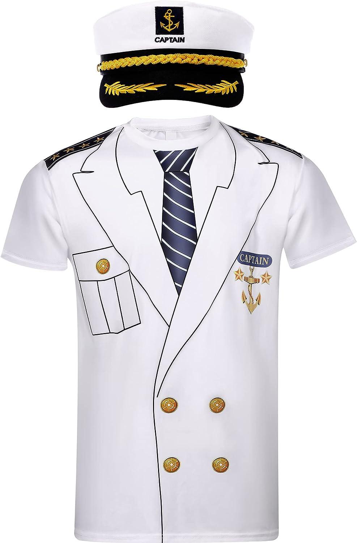 Captain Hat Men's Costume Atlanta Mall Yacht Max 90% OFF T-Shirt Navy