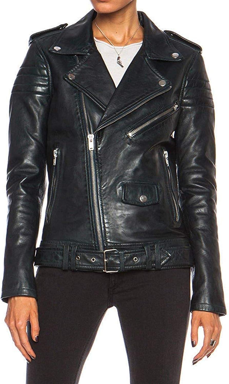 SARZFashion Women's Cafe Racer Biker Motorcycle Slim Fit Real Sheepskin Leather Jacket