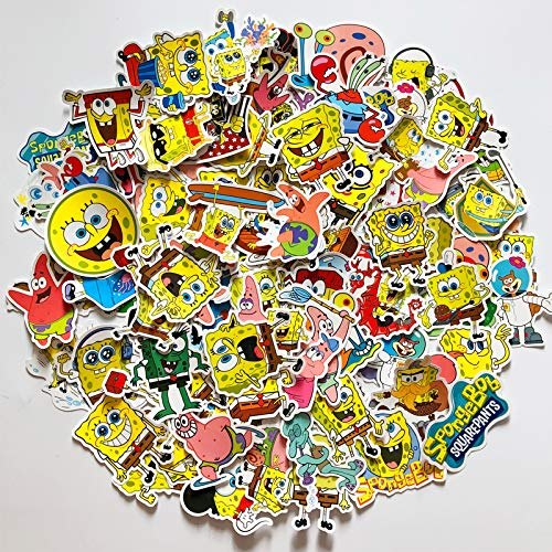 BUCUO Esponja Baby Pie Big Star Sticker Cute Cartoon Maleta Sticker Animación para niños Decoración de la computadora de Pared 100 Uds