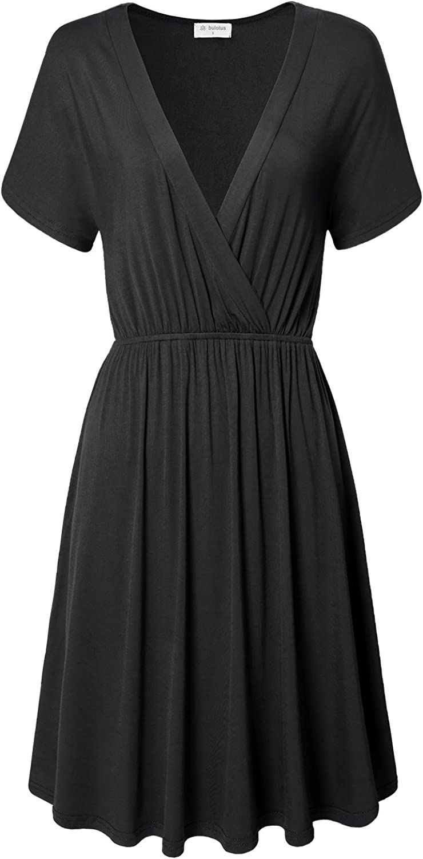 Bulotus Womens Cross VNeck Short Sleeve Cotton Aline Summer Casual Midi Dress