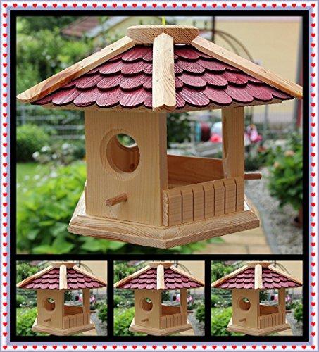 Vogelhaus Vogelhäuser-(V73 rot)-Vogelfutterhaus Vogelhäuschen-aus Holz Schreinerarbeit