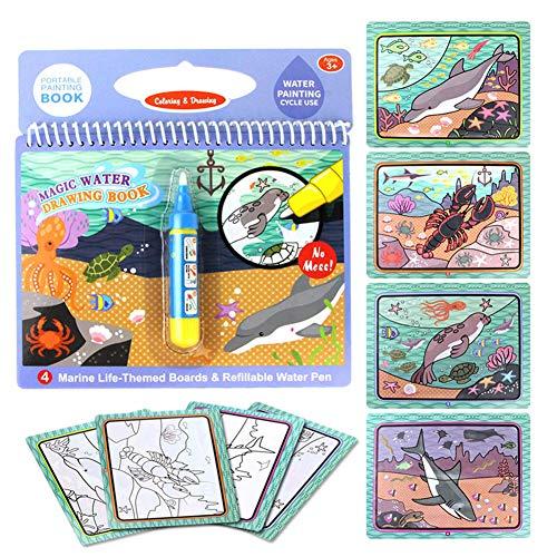 Happy Cherry - Cuadernos Colorear niños Infantil para Niños Libro de Pintura con Agua Corriente Magíco Juguete Educativo para Bebés Niños Pintar