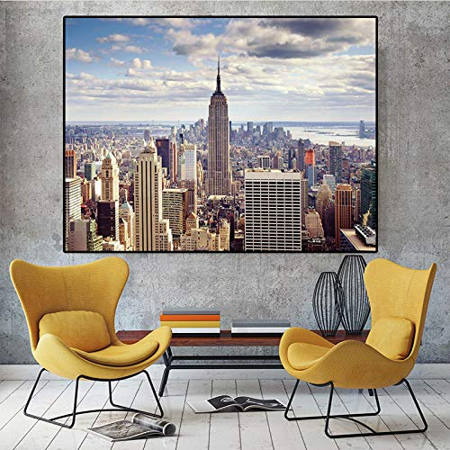 BLLXMX Print On Canvas New York City Manhattan Buildingsunset Cloud Posters and Prints Scandinavian Wall Art Picture For Living Room-60x120cm No Frame