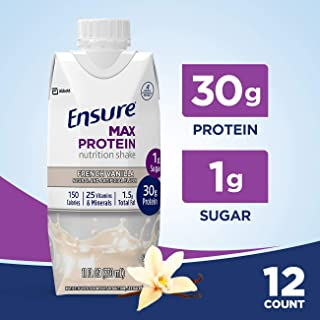 Ensure Max Protein Nutritional Shake with 30g of High-Quality Protein, 1g of Sugar, High Protein Shake, French Vanilla, 11 fl oz, 12 Count