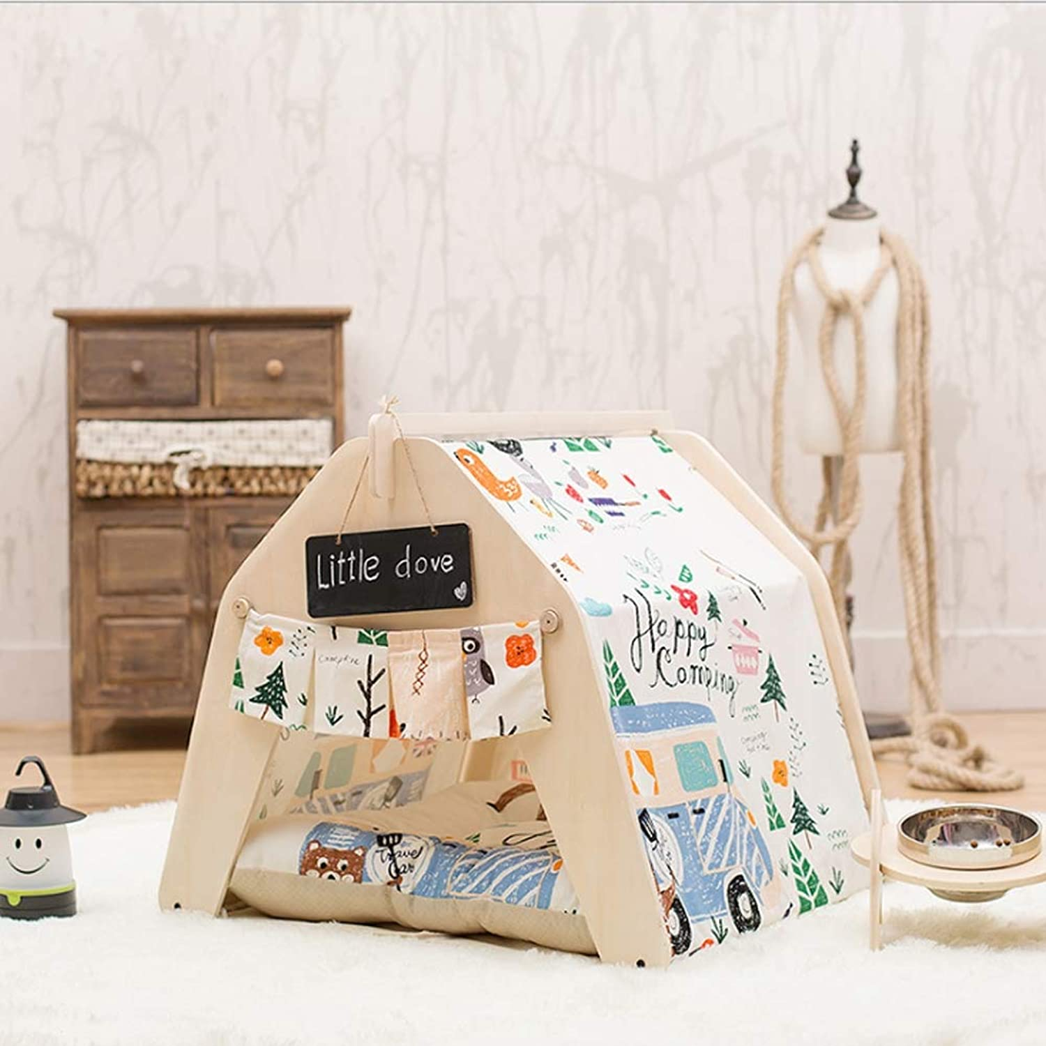 colorful Canvas Pet Tent Cat Kennel Washable Fabric Wooden Household Outdoor Supplies,colorfulCanvas(nopad),L