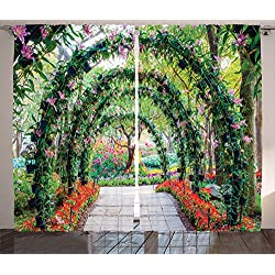 Ambesonne Country Home Decor Curtains 2 Panel Set, Flower Arches with Pathway in Ornamental Plants Garden Greenery Romantic Picture, Living Room Bedroom Decor, 108 W X 84 L Inches, Green Red