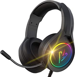 سماعة راس ستيريو للالعاب لاجهزة PS4 وكمبيوتر وXbox One بخاصية الغاء الضوضاء وسماعات على الاذن وميكروفون وواقيات اذن ناعمة ...