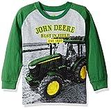 John Deere Boys' Little Long Sleeve Raglan Tee, Grey Tractor, 5
