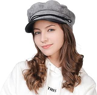 Fashion Suede Newsboy Cap Sailor Fiddler Greek Hat Cotton Lined PU Visor 56-59CM