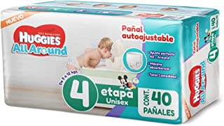 Huggies All Around Pañal Desechable para Bebé, Etapa 4 Unisex, Paquete con 40 piezas, Ideal para bebés de 9 a 12 kg