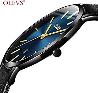 OLEVS Womens Ultra Thin Minimalist Large Dial Leather Analog Wrist Watches Waterproof Ladies Slim Classic Simple Casual Dress Blue Big Face Gold Hands Date Quartz Watch with Business Band Black Gifts