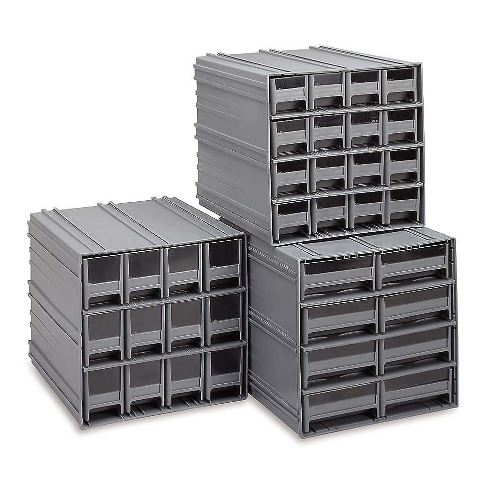 列車眉省略するQuantum QIC-161GY Interlocking Gray Storage Cabinet with 16 Gray Drawers, 11.38-Inch by 11-3/4-Inch by 11-Inch by Quantum Storage Systems