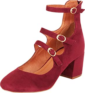 Cambridge Select Women's Mary Jane Strappy Cutout Caged Chunky Block Mid Heel Pump
