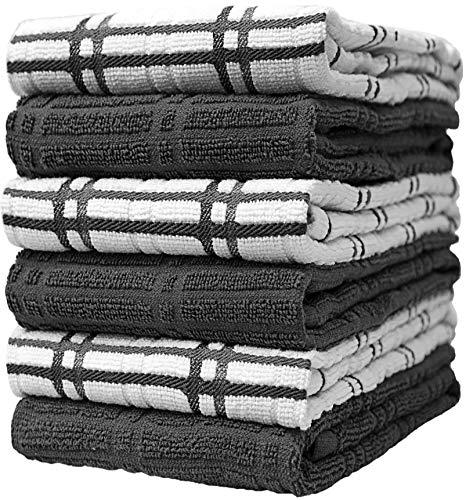 Bumble Towels 6-er Pack Set Küchenhandtücher mit Fensterscheibenmuster / 40 x 66 cm/Handtücher für die Küche in Kräftigen Farben / 6 Geschirrhandtücher/Ringgesponnen/Edel & Kuschelig Weich (Grau)