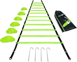 Yes4All Ultimate Combo Agility Ladder Training Set with Agility Ladder 12 Rungs & 12 Agility Cones, Agility Combo Speed La...