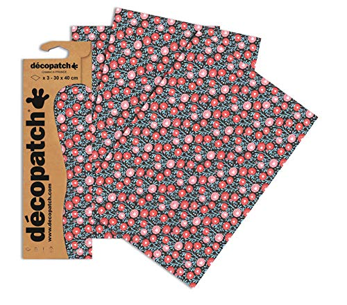 Decopatch Papier No. 657 (rot blau Blümchen, 395 x 298 mm) 3er Pack