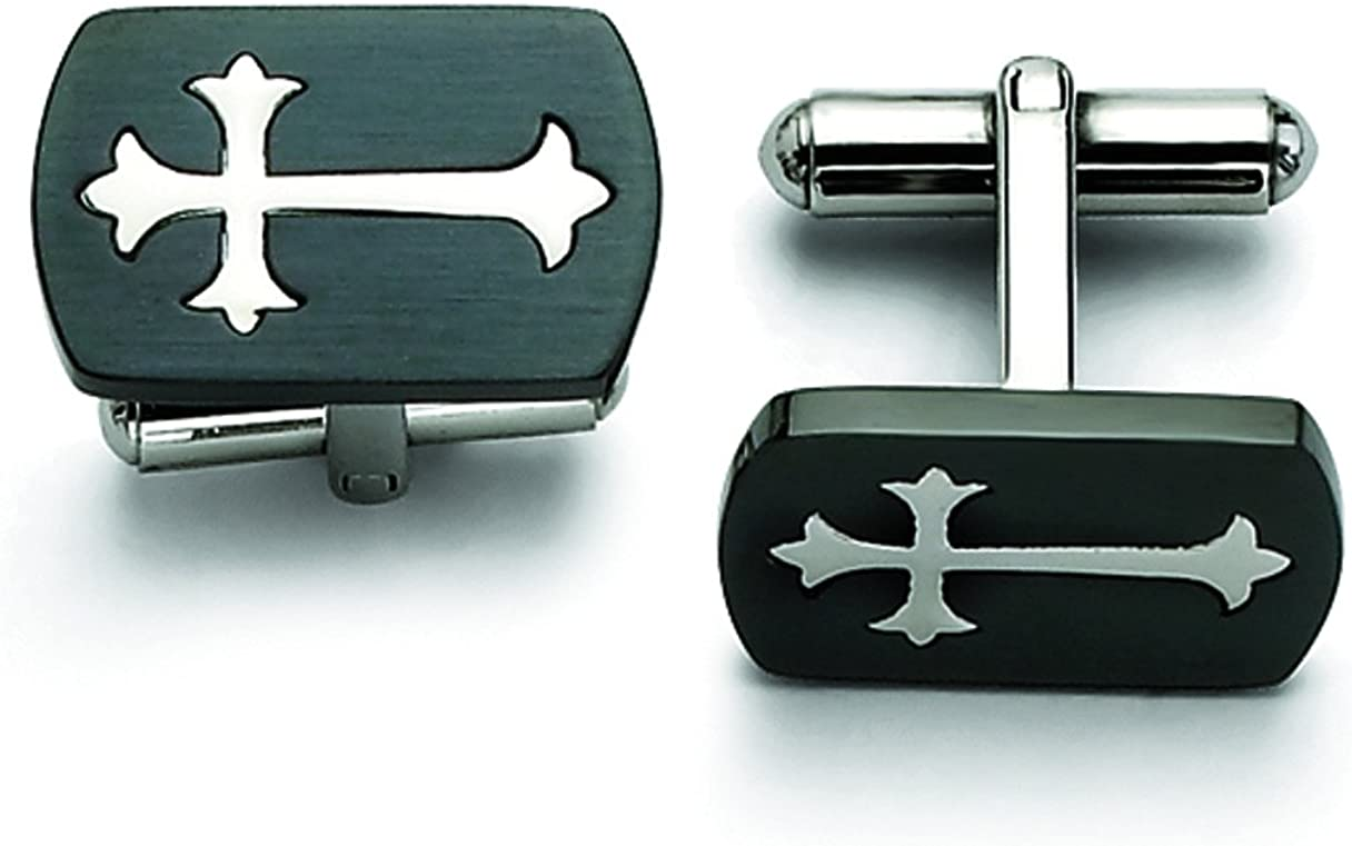 Stainless Steel Black Plated W/Polished Cross Cuff Links
