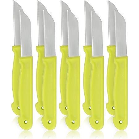 COM-FOUR® Couteau à éplucher 10x en acier inoxydable - couteau de cuisine tranchant avec lame de 6,5 cm - couteau à pommes de terre [la sélection varie] (10 pièces - couteau à éplucher coloré)