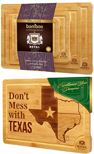wholesale Bamboo Cutting Board Set and and State outlet online sale popular Cutting Board for Kitchen – TEXAS by Royal Craft Wood online