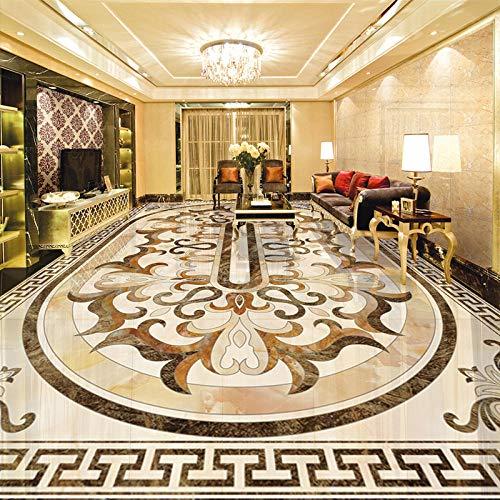 Custom 3D Floor Mural Wallpaper Custom Photo Floor Wallpaper For Walls 3D Luxury European Style Living Room Floor Mural Pvc Self-Adhesive Wallpaper Waterproof-150*105Cm For Kitchen Bathroom,Living R