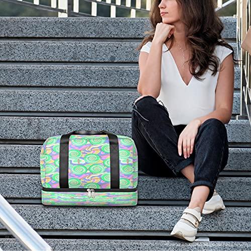 Bolsa de deporte para gimnasio verde Lollipop bolsa de viaje ligera durante la noche con bolsillo húmedo y compartimento para zapatos bolsa impermeable para hombres y mujeres