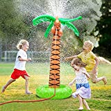 "61"" Inflatable Palm Tree Backyard Sprinkler Toy for Kid, Spray Water Pool Toy Inflatable Water Park Outdoor Hawaiian Party Coconut Tree for Lawn Splash Sprinkler for Toddlers Backyard Beach Games Toys"