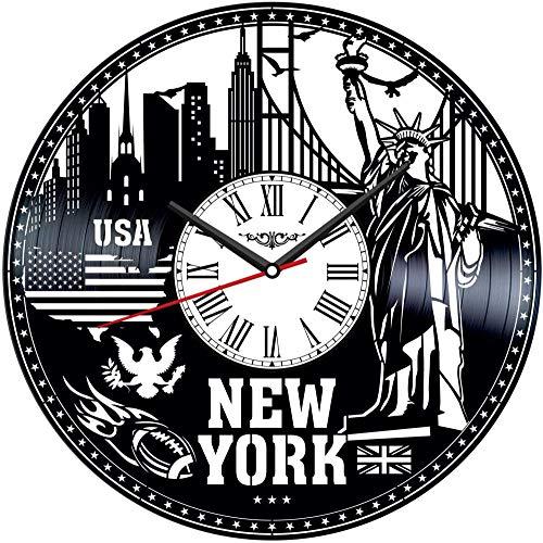 TJIAXU Reloj de Pared con Disco de Vinilo de Nueva York,decoración única para el hogar, Regalo Hecho a Mano para Hombres, Mujeres, Amigos, niños